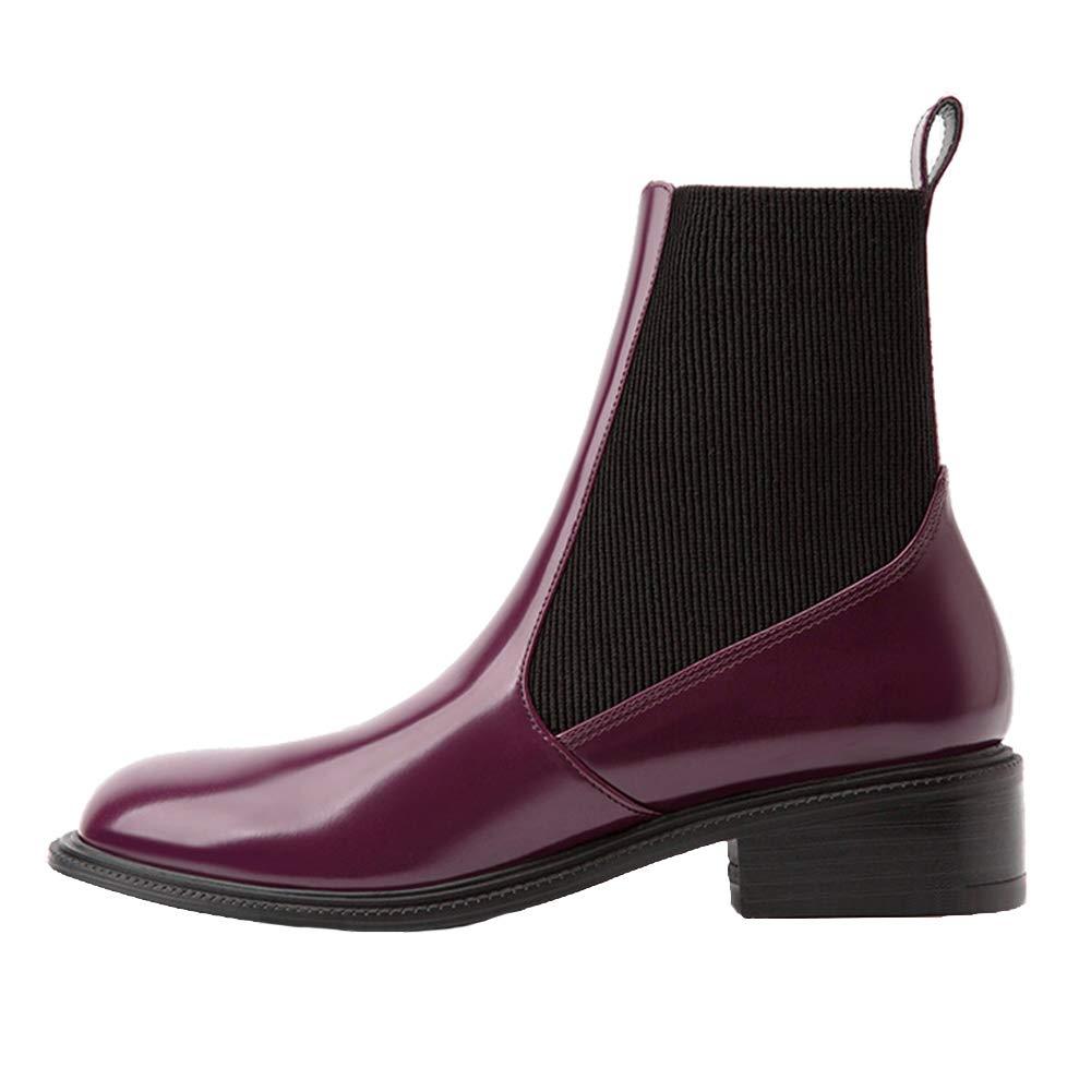 Damen Ankle Stiefel, Mid-Heel Lederstiefel Chelsea Stiefel Winter Casual Stiefelies Stretch-Stoff Lackleder Plüschfutter,rotthick,37