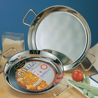 Stainless Steel Paella Pan - 28 inch/ 70 cm by La Ideal