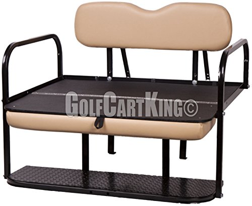 EZGO TXT (1995 - Up) Golf Cart Rear Flip Seat Kit - Tan by Golf Cart King (Image #1)