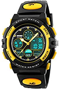 CakCity Waterproof Swimming Sports Watch Boys Girls Led Digital Watches for Kids Rubber strap Yellow