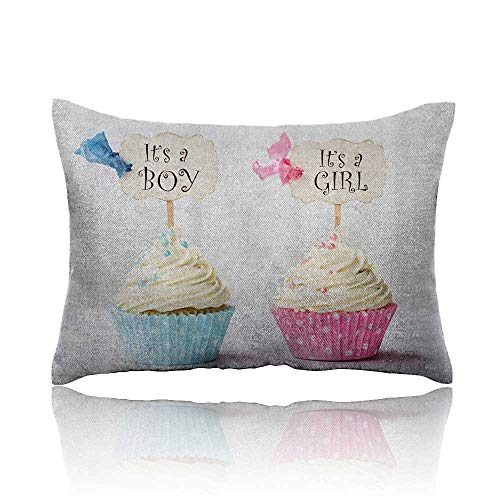 Gender Reveal Cool Pillowcase Boy and Girl with Cupcakes Yum