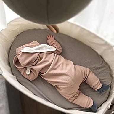 Carolilly Easter Baby Outfits Newborn Baby Girl Bunny Romper Long Sleeve Hooded Jumpsuit