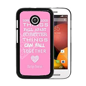 RCGrafix Brand Marilyn Monroe Quote Love Pink Motorola Moto E Cell Phone Protective Cover Case - Fits Motorola Moto E