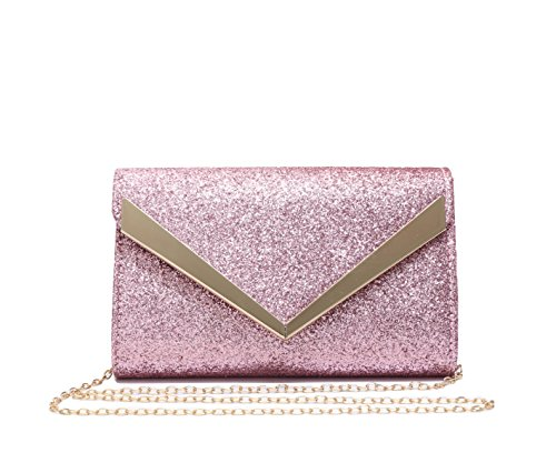 Women's Black Envelope Evening Shape and Glitter Clutch Lightweight V Foxlady's Pink Bag zXdqwFz