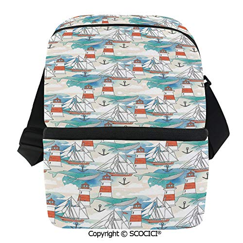 SCOCICI Reusable Insulated Grocery Bags Abstract Whale Anchor and Boats Pattern Sky Inspired Background Design Decorative Thermal Cooler Waterproof Zipper Closure Keeps Food Hot Or Cold ()