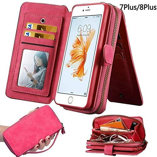 iPhone 7Plus/ 8Plus Womens Case,iPhone 7 Plus/8 Plus Wallet Case,Zipper Detachable Magnetic12 Card Slots Card Slots Money Pocket Clutch Cover Zipper Wallet Purse Case iPhone 7 Plus/8 Plus (HotPink)