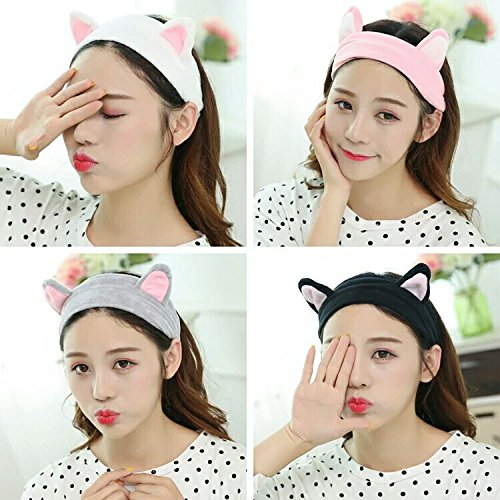2PCS Cat Ear Cute Women's Coral Headband Bath Shower Cap Wash Face Makeup Beauty Sports Hair Accessories Random color 4G-Kitty