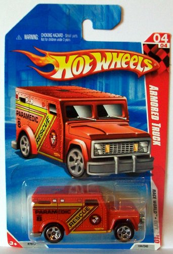 2010 Hot Wheels 184/240 Armored Truck, Red 1:64