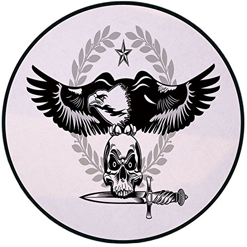 Printing Round Rug,Eagle,Black and White Bird Nested on a Skull Dagger in Mouth Dangerous Animal Decorative Mat Non-Slip Soft Entrance Mat Door Floor Rug Area Rug For Chair Living Room,Black Pale Grey