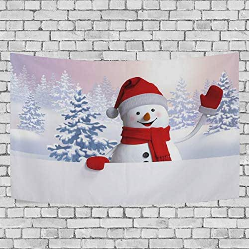 Josid Happy Winter Day Cute Christmas Snowman Tapestry Wall Hanging Wall Tapestry Hippie Tapestries Wall Art for Bedroom Living Room Dorm Home Decor 60x40inches