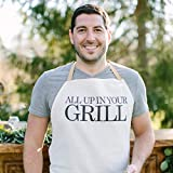 Apron, All Up In Your Grill, Handmade in the USA, present, grilling apron, menswear, housewarming gift, kitchen decor
