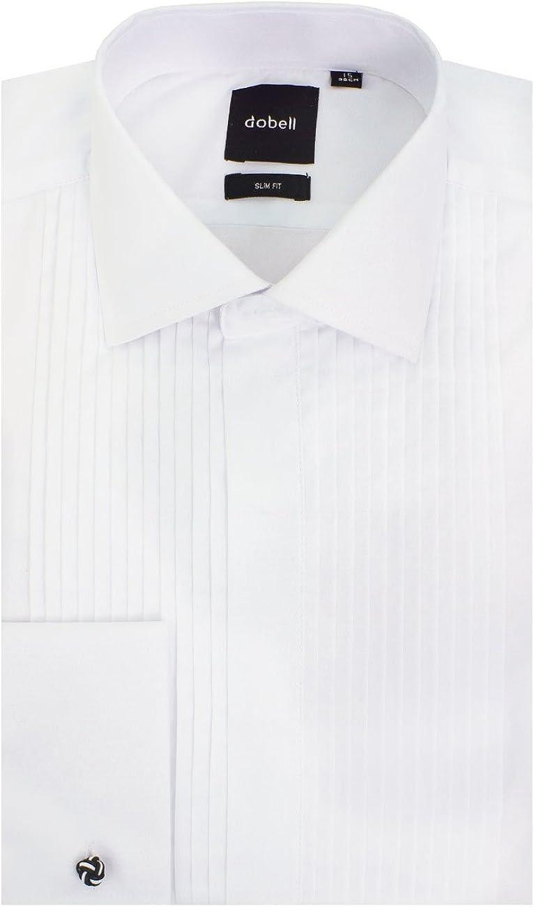 Dobell Camisa Blanca con Delantera Plisada Entallada y Cuello clásico: Amazon.es: Ropa y accesorios