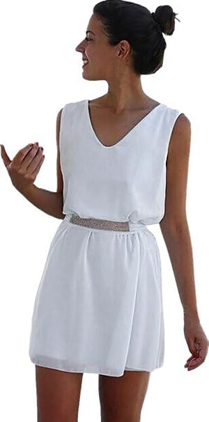 Vestido Para Mujer, Ouneed Mujeres verano gasa sin mangas fiesta playa corto mini vestido con