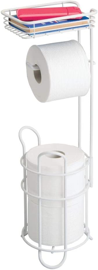mDesign Freestanding Metal Wire Toilet Paper Roll Holder Stand and Dispenser with Storage Shelf for Cell, Mobile Phone - Bathroom Storage Organization - Holds 3 Mega Rolls - Matte White