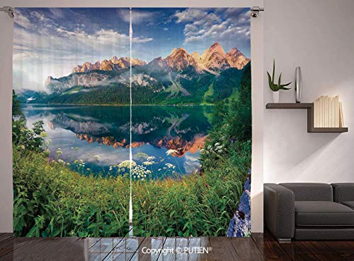 Thermal Insulated Blackout Window Curtain [ Apartment Decor,Sunny Summer Morning on the Lake Austrian Alps Crystal Mirroring Water Fairy Season Photo,Multi ] for Living Room Bedroom Dorm Room Classroo