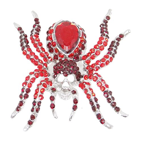 EVER FAITH Women's Austrian Crystal Vintage Style Halloween Spider Brooch Pin Red Silver-Tone ()