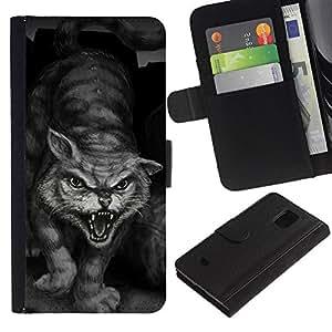 Billetera de Cuero Caso Titular de la tarjeta Carcasa Funda para Samsung Galaxy S5 Mini, SM-G800, NOT S5 REGULAR! / Painting Tiger Wild Cat Monster Hero / STRONG