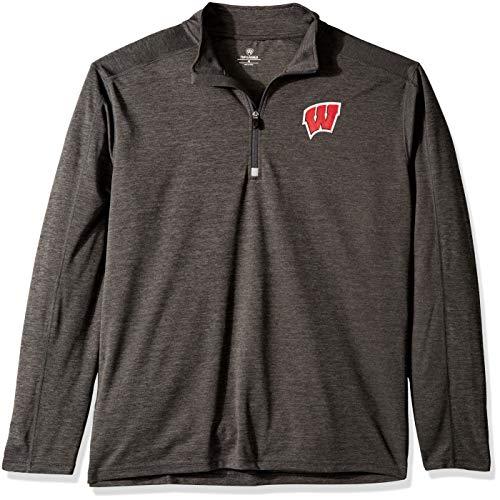 Elite Fan Shop NCAA Men's Dark Heathered Poly Half Zip Pullover, Charcoal Heather (Half Zip Mesh Pullover)