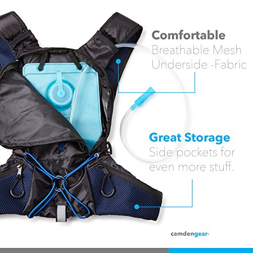 "Hydration Pack with 1.5 L Backpack Water Bladder. Fits Men and Women with Chest Sizes 27"" 50"". Great for Hiking Running Biking Kids"