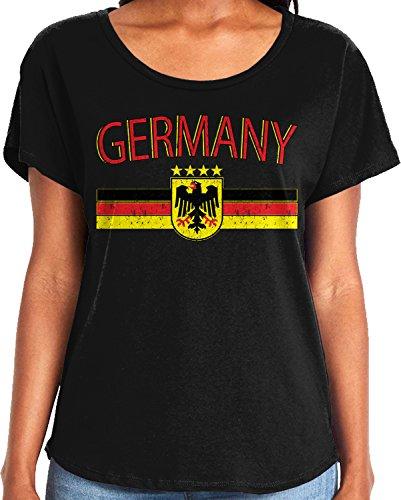 Amdesco Ladies Germany Flag and German Eagle Crest Dolman T-Shirt, Black Medium