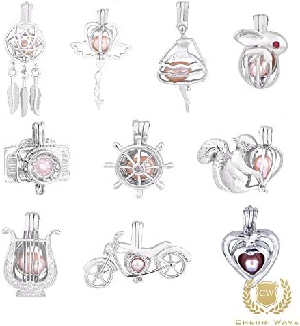 Cherri Wave 10 Pieces White Gold Plated Pearl Bead Cages Pendants for Jewelry Making/Essential Oil Scent Diffuser Locket Pendants
