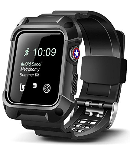 BEAUBOMB for iWatch Band 38mm Women Apple Watch Bands Replacement Series 3/2/1 Sport Protective Rugged Silicone Bumper Case Black Strap Protector Cover for Sportsman Men and (Protective Silicone)