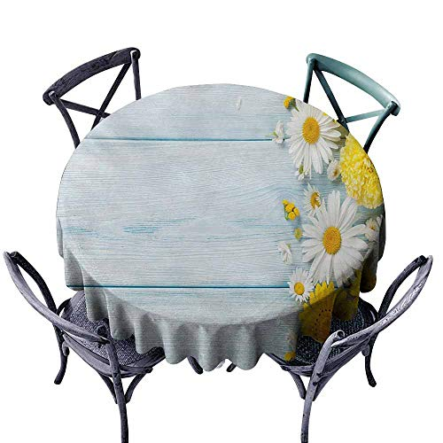 Marilec Washable Tablecloth Yellow Flower Seasonal Garden Flowers on Blue Wooden Planks Rustic Arrangement Print Yellow Pale Blue Party D43