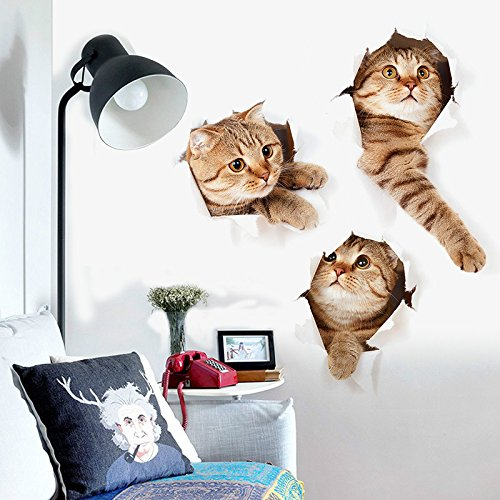 3d Cat stickers tile wall art animal decal cute paw cool funny sticker paper bathroom toilet seat fragile kawaii for baby laptop window car decorative removable (Cute)