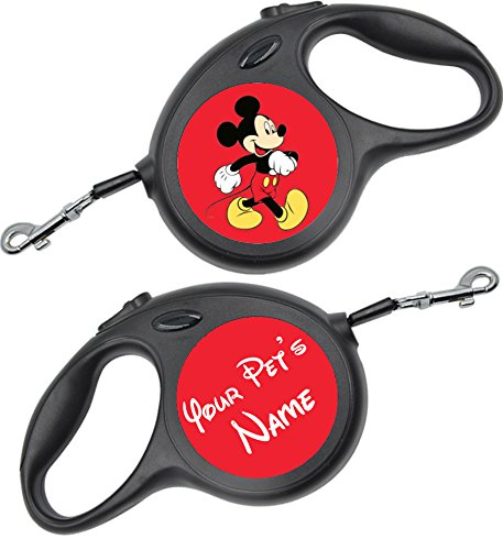 uDesignUSA Disney Themed Retractable Dog Leash Personalized w/Your Pet's Name (Mickey Mouse, Small 16ft)]()
