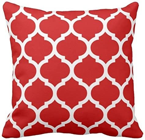 Red and White Decorative Cushion Covers Throw Pillow Case Moroccan Quatrefoil Pattern Print Square Two Sides 18X18 Inch