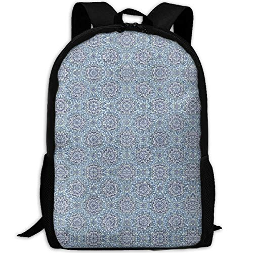 NEW Student Backpack, School Backpack For Laptop,Most Durable Lightweight Cute Travel Water Resistant School Backpack - Indigo Medallions With Butterflies -