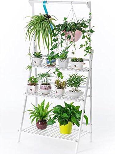 Aidelai, estante de flores de madera maciza, soporte de suelo para plantas de interior multiestancia, estantes plegables, soporte de flores, estante de salón, flores, balcón, maceta, patio, jardín, pergolas: Amazon.es: Jardín