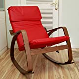Mason Contemporary Style Rocking Chair with Cushion Made of Faux Leather/Solid Wood in Red and Brown Finish 35'' H x 27'' W x 37'' D in.