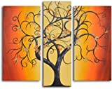 My Art Outlet 3-Piece Hand Painted ''Thai Tree Dance'' Oil Painting Set