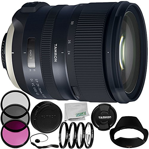 Tamron SP 24-70mm f/2.8 Di VC USD G2 Lens for Nikon F 8PC Accessory Bundle – Includes Manufacturer Accessories + 3PC Filter Kit (UV + CPL + FLD) + MORE- International Version (No Warranty) by SSE