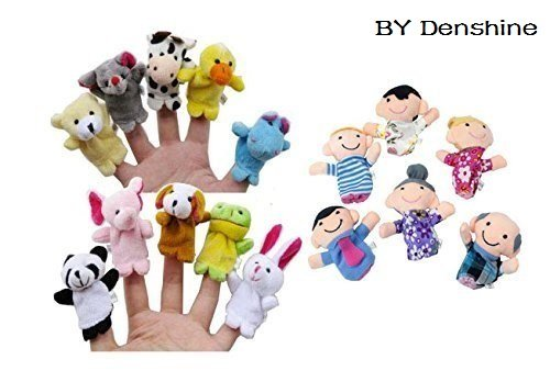 (Denshine® 16Pcs Story Time Finger Puppets-10 Animals 6 People Family Members Educational Puppets by Denshine )