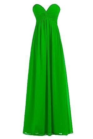 51ca9956809 DINGZAN Chiffon Empire Bridesmaid Dress for Wedding Guest Long 2 Apple Green