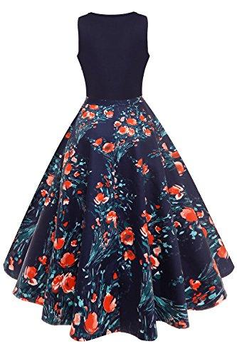 d60f2d4d322f26 Babyonlinedress® Elegant Damen Ärmellos Audrey Hepburn Kleid A-Linie Mit  Blumendruck Partykleider Abendkleid Knielang ...