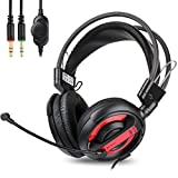 Headphone,E-BLUE EH5956 Bass Gaming Headset with Microphone Surround Stereo Sound Noise Canceling for PC/Mac/Laptop/Ipod/PS4(Black/Red)
