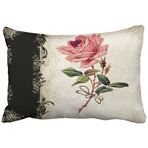 Pillow Rose Lace (Emvency Decorative Pillowcases Baroque Style Vintage Rose Black Cream Lace Throw Pillow Covers Cases Cushion Sofa Queen 20x30 Inches(51x76cm) One Side)