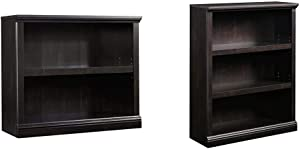 Sauder 2-Shelf Bookcase, Estate Black Finish & 3-Shelf Bookcase, Estate Black Finish