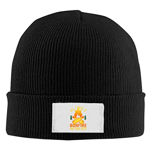 Dunpaiaa Skull Caps All I Need is Bonfire and Beer 1 Winter Warm Knit Hats, Stretchy Cuff Beanie Hat Black -