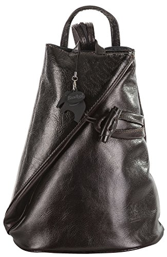 Womens Leather Hand Made Convertible Strap Backpack Shoulder Handbag - Made in Italy with a Branded Protective Storage Bag and Charm (Coffee) by Big Handbag Shop