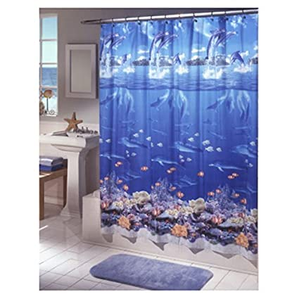 Amazon Ex Cell Home Fashions Sea Life Shower Curtain Blue