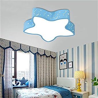 SXZJ Los niños estrellas de luces LED Luz Lámpara de techo habitaciones dormitorio cartoon luz cálida y 38 cm niños blanco azul 18W: Amazon.es: Iluminación
