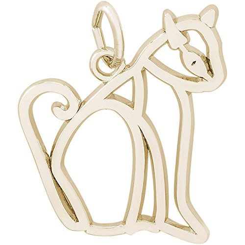 Rembrandt Charms Siamese Cat Charm, 14K Yellow Gold (Charm Yellow Cat Gold)