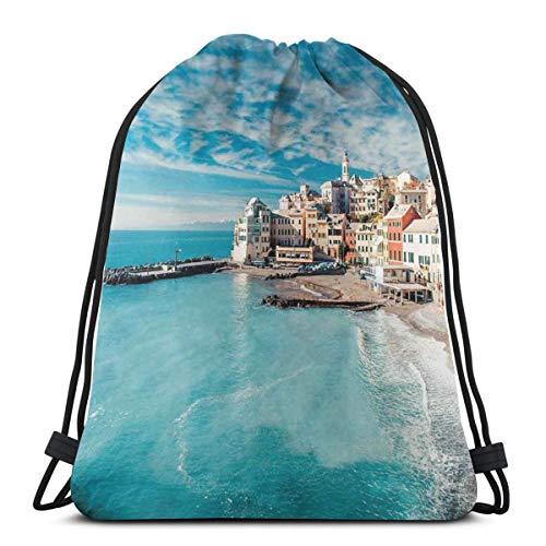 Unisex Drawstring Bag Gym Bags Storage Backpack,Panorama Of Old Italian Fish Village Beach Old Province Coastal Charm Image