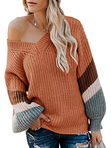 Ashuai Off Shoulder Loose Sweater V Neck Batwing Balloon Sleeve Oversized Pullover Striped Knitted Top Rust ()
