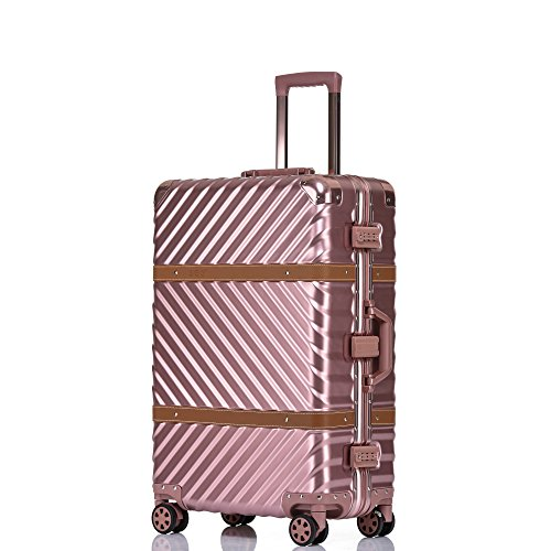 Aluminum Frame Luggage, 28 Inch Hardside Fashion Suitcase with Detachable Spinner Wheels, Rose Gold (Trunkies Suitcases Best Price)