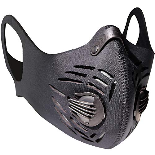 BASE CAMP Fitness Dust Mask with Earloop Adjustable HOOK&LOOP and Activated Carbon Filter For Sport Training House Cleaning Gardening (Black)